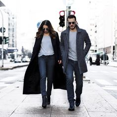 winter denim + black shades + jeans