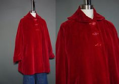 Vintage 50s Swing Coat Dark Red Velvet 1950s by mustangannees, $94.00