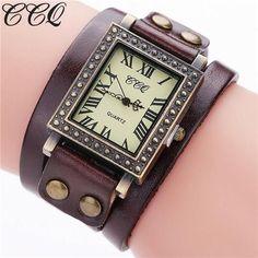 CCQ Brand Fashion Vintage Genuine Leather Bracelet Watch Casual Women Wrist Watch Punk Style Quartz Watch Relogio Feminino C98