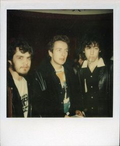 The Clash: polaroid of photographer Chalkie Davies with Mick...