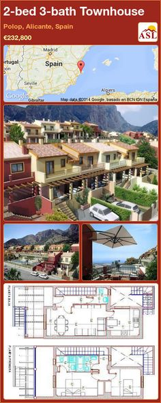Townhouse for Sale in Polop, Alicante, Spain with 2 bedrooms, 3 bathrooms - A Spanish Life Porch And Terrace, Lovely Complex, Spanish Towns, Fitted Bathroom, Alicante Spain, Crystal Clear Water, Entrance Doors, Lounge Areas, Townhouse