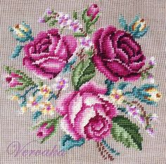 This Pin was discovered by Öme Cross Stitch Pillow, Just Cross Stitch, Cross Stitch Flowers, Cross Stitch Charts, Cross Stitch Designs, Cross Stitch Patterns, Needlepoint Patterns, Embroidery Patterns, Ribbon Embroidery
