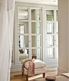 mirrored doors in master closet... do antiqued mirror instead. by Kathy Hedge