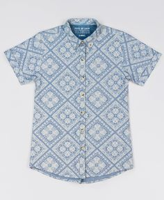 Crisp chambray and an intricate all-over bandana paisley print make this button up the ultimate in summer style. Pair it with lightweight chinos for a classic laid-back-cool look. By Peau de Loup exclusively for Wildfang.
