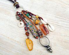 Ethnokette Ethno Halskette Vintage Anhänger mit von BacaCaraJewelry