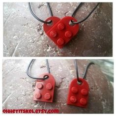Lego Heart Necklace ~ I think this would be cute as a bracelet if you put several of them together:)