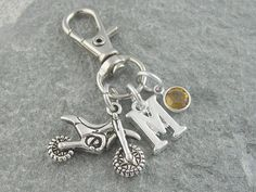 87bc9a254d9 Motocross purse charm, zipper charm, bag charm, motorbike purse charm,  personalized gift, motocross