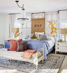 To help refresh your home for the season ahead, we talked to a few designers about the fall decorating trends they're most excited about this year. #fallhomedecor #falldecortrends #2021trends #bhg Arranging Bedroom Furniture, Furniture Arrangement, Bedroom Decor, Cozy Bedroom, Bedroom Ideas, Upholstered Furniture, Fall Entryway, Stay In Bed, Home Trends