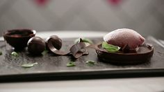 Chilli Chocolate Ganache Tart and Raspberry Sorbet recipie Zumbo's Just Desserts, Fancy Desserts, Delicious Desserts, Dessert Recipes, Dessert Ideas, Chocolate Ganache Tart, Chocolate Bowls, Zumbo Desserts, Sea Cakes