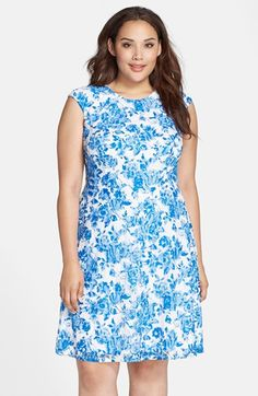 Chetta B Floral Print Lace Fit & Flare Dress (Plus Size) available at #Nordstrom