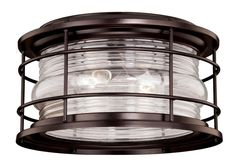 View the Vaxcel Lighting T0166 Hyannis 2 Light Flush Mount Outdoor Ceiling Fixture with Clear Ribbed Glass Shade - 12.63 Inches Wide at LightingDirect.com.