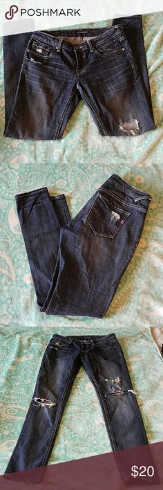 Vigoss jeans Great jeans for the summer, they are skinny/straight. There is a small tear in one of the parts that are already distressed, hardly noticeable though. They are just too tight now and have been sitting in my closet for way too long! Vigoss Jeans Skinny