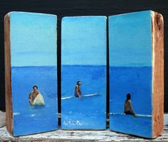 Surf art- surfing painting, beach, surf decor, triptych sculpture for surfers and beach decor by Cathie Carlson