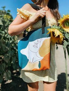 Jute Tote Bags, Diy Tote Bag, Canvas Tote Bags, Painted Canvas Bags, Bag Design, Printed Tote Bags, Reusable Bags, Textiles, Etsy Shop