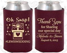 Oh Snap Wedding, Unique Wedding Gift, Hashtag Wedding, Camera, Thank you for Sharing Our Special Day,Wedding Coozies (95)