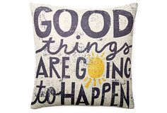 "One Kings Lane - Pillow Talk - ""Good Things"" 20x20 Pillow, White"