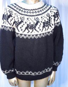 Dale of Norway Men's Iconic Fair Isle Wool Reindeer Sweater - Size 52 * #DaleofNorway #Crewneck