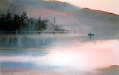 Fisherman at Dawn by watercolor artist Nita Engle available from Snow Goose Gallery