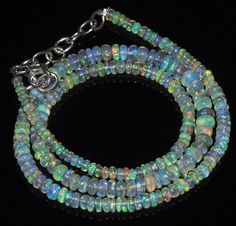 """44 Tcw 2 to 5 mm 17"""" Natural Ethiopian Welo Fire Opal Necklace ---131"""