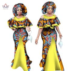 Maxi Sleeveless Dashiki Print Mermaid Dresses Africa Style with Headscarf Plus  Size African Outfits 65ba5231a025