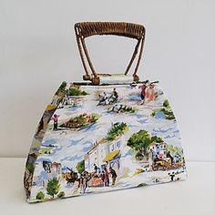 Vintage fabric handbag with sinew vintage handle. From ZStitch: Babette 1 - SOLD Fabric Handbags, Fabric Bags, Retro Fabric, Handmade Handbags, Vintage Inspired, Handle, Inspiration, Handmade Bags, Biblical Inspiration