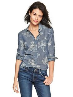 Gap New Tailored Floral Chambray Shirt - Chambray Floral $54.95 - Buy it here: https://www.lookmazing.com/gap-new-tailored-floral-chambray-shirt-chambray-floral/products/6057150