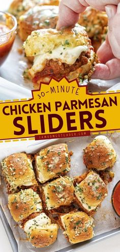 Looking for the best comfort food? These Chicken Parmesan Sliders are mini sandwiches packed with tons of flavors. This chicken recipe idea is also a great 4th of July appetizer idea! Chicken Parmesan Sliders Recipe, Chicken Recipes, Finger Food Appetizers, Appetizer Recipes, Easy Main Dish Recipes, Mini Sandwiches, Fourth Of July Food, Slider Recipes, Bbq Meat