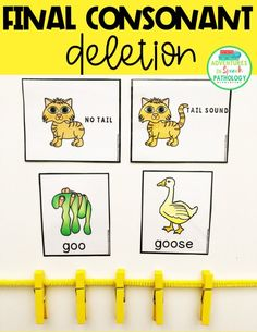 Teach Phonology Activities: Final Consonant Deletion with these 'tail sound' visuals. Place your minimal pair cards out and then clip clothespins onto a pipe cleaner/chenille stick for each goo-goose that you say. Preschool Speech Therapy, Articulation Therapy, Articulation Activities, Speech Therapy Activities, Speech Language Therapy, Speech Language Pathology, Speech And Language, Final Consonant Deletion, Phonological Awareness