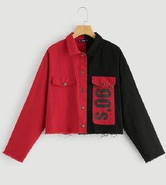 nineties α wear cloth trend allure style look two tone flap pocket buttoned jacket veste denim jean rouge et noir -SHEIN (SHEINSIDE) Teen Fashion Outfits, Edgy Outfits, Cute Casual Outfits, Grunge Outfits, 2000s Fashion, Fashion Flats, Fall Fashion, Womens Fashion, Fashion Trends