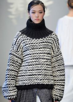 wgsn:  voluminous knitwear in black and white at tessgiberson features a cozy turtleneck #aw14 #nyfw