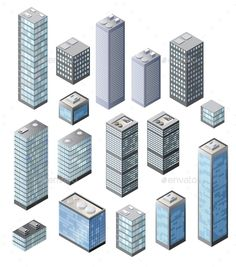 Buy Set of Vector by alexzel on GraphicRiver. Set of vector tall buildings in shades of blue Minecraft City Buildings, Minecraft Architecture, Isometric Art, Isometric Design, Minecraft Blueprints, Minecraft Designs, City Layout, Future Buildings, Model Train Layouts
