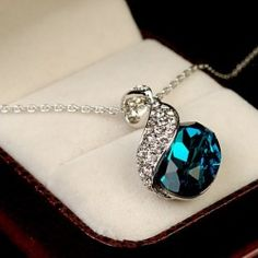 The Blue Crystal Heart Of Ocean Women's Fashion Necklace - USD $69.95