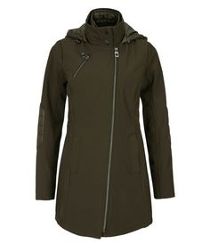 Quilted Hood Soft Shell Coat, Dark Olive