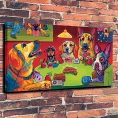 Puppies-Entertainment-Art-Print-Oil-Painting-on-Canvas-Home-Decor-Unframed