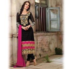 Black Straight Salwar Kameez-