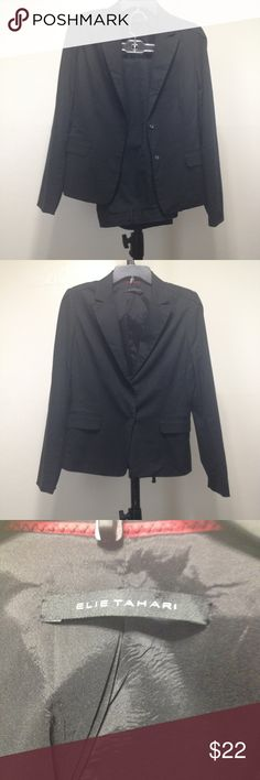 """Elie Tahari Black Solid Pants Suit Size 6 Elie Tahari Black Solid Pants Suit Size 6 Casual Womens 2 Button Snap. No Flaws.  Style: Pant Suit Material: Polyester Bust of jacket: 18 Brand:  Elie Tahari Sleeve length: 19"""" Color:  Black Waist of pants: 29 Size (Women's): 6 Length of jacket: 26"""" Size Type: Regular Details: Fully lined, 2 pockets Inseam: 32 Lined: Yes Elie Tahari Jackets & Coats Blazers"""