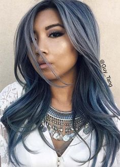Blue Denim Hair Colors: Modern Matte Denim Hair