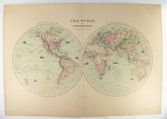 Antique World Map Hemispheres Map 1873 Large Vintage Map Of The World In  Hemispheres, Unique