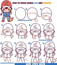 How to Draw Cute Kawaii Chibi Ash Ketchum and Pikachu from Pokemon Easy Step by Step Drawing Tutorial for Kids and Beginners
