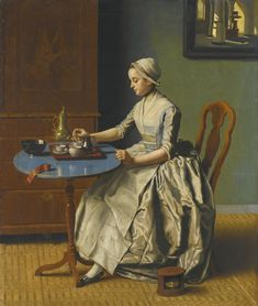 Jean-Etienne Liotard GENEVA 1702- 1789 A DUTCH GIRL AT BREAKFAST- A young girl is pouring coffee next to an 18th century foot warmer at her side.