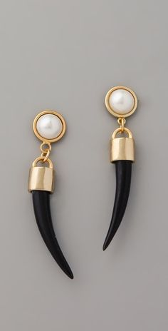 Bijan Pearl Horn Earrings by Fallon Jewelry