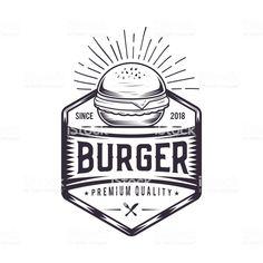 Burger logo design for a modern burger joint. Logos Vintage, Logos Retro, Vintage Logo Design, Food Brand Logos, Logo Food, Burger Joint, Food Logo Design, Burger Design, Design Logos