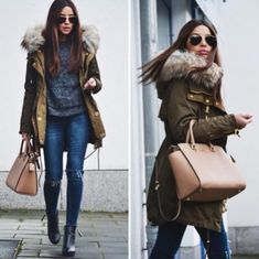 Furry green coat-Zara winter outfits mix and match – Just Trendy Girls