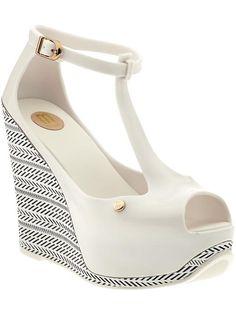 Melissa Shoes Melissa Peace III - peep-toe WEDGE - black & white - shoes