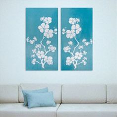 DIY Cherry Blossom Canvas  *Use maroon and gold random ombre instead of turquoise*