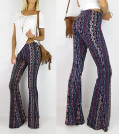 Floral-Paisley-FLARE-Boho-High-Free-Waist-Hippie-People-Bell-Bottom-Pants-L