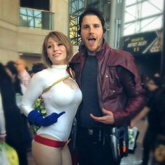 Characters: Power Girl (Kara Zor-L, aka Karen Starr) & Star-Lord (Peter Quill) / From: DC Comics 'Power Girl' & MARVEL Studios 'Gaurdians of the Galaxy' / Cosplayers: Samantha Lynn Hoy (aka C&G Princess Parties WNY) as Power Girl & Unknown as Star-Lord (2014)