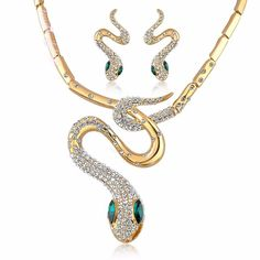 Swarovski Crystal Snake-Shaped Necklace Earrings Set Party Accessory N1322N1323 #Bearfamilybirth #Cluster
