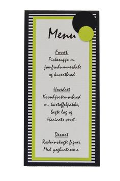 Menukort Menu, Good Things, Party, Diy, Inspiration, Place Cards, Menu Board Design, Biblical Inspiration, Fiesta Party