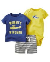 Complete with airborne screen prints and stripes, this soft 3-piece set is perfect for spring.
